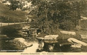 De waterval in het Josaphatpark in Schaarbeek (begin 20de eeuw)