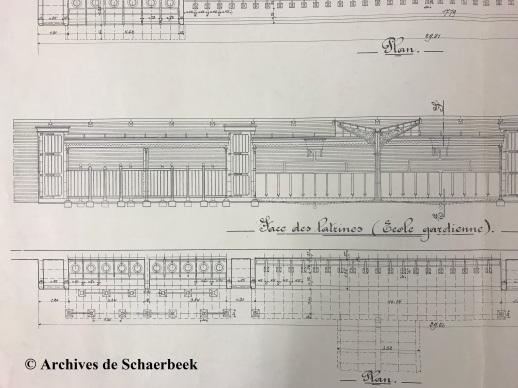 Plan des latrines de l'école maternelle de l'école n°13 à Schaerbeek (1907) | Schets van de toiletten van de kinderschool, school nr 13, Schaarbeek (1907)