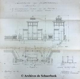 Plan d'un urinoir à installer place de la Reine (1915) | Schets van een openbaar urinoir voor de Koninginneplein (1915)