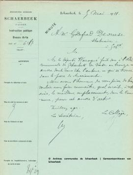 Lettre du Collège à Devreese, 5 mai 1911, Fonds Beaux-arts, ACS | Brief van het College tot Devreese, 5 mei 1911, Schone Kunst Archieven, GAS
