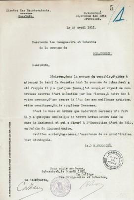 Lettre de Raoul Warocqué, 26 avril 1911, fonds Beaux-arts, ACS | Brief van Raoul Warocqué, 26 april 1911, Schone Kunst Archieven, GAS