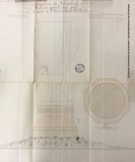 Plan du socle en granit rose (architecte Henri Jacobs), fonds Beaux-arts, ACS | Plan van het voetstuk in roze graniet (architect: Henri Jacobs), Schone Kunst archieven, GAS