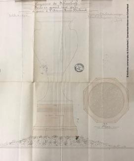 Plan du socle en granit rose (architecte Henri Jacobs), fonds Beaux-arts, ACS | Plan van het voetstuk in roze graniet (architect: Henri Jacobs), Schone Kunst archieven, GAS