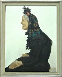 Constand MONTALD, Portrait de la vieille de profil, détrempe sur carton, 1916, 113x88cm, collection du Musée communal de Woluwe-Saint-Lambert