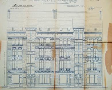Rue Victor Hugo n°53-59 , plan, 1901, Archives de l'Urbanisme de Schaerbeek | Victor Hugostraat nr 53-59, plan, 1901, Archieven van de Stedenbouw van Schaarbeek